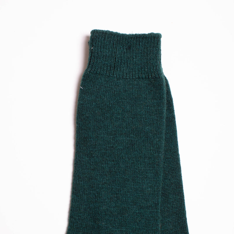 Wool Cashmere Two Point Crew Socks - Green