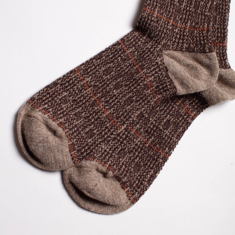 Anonymous Ism - Wool Glen Check Crew Socks - Beige