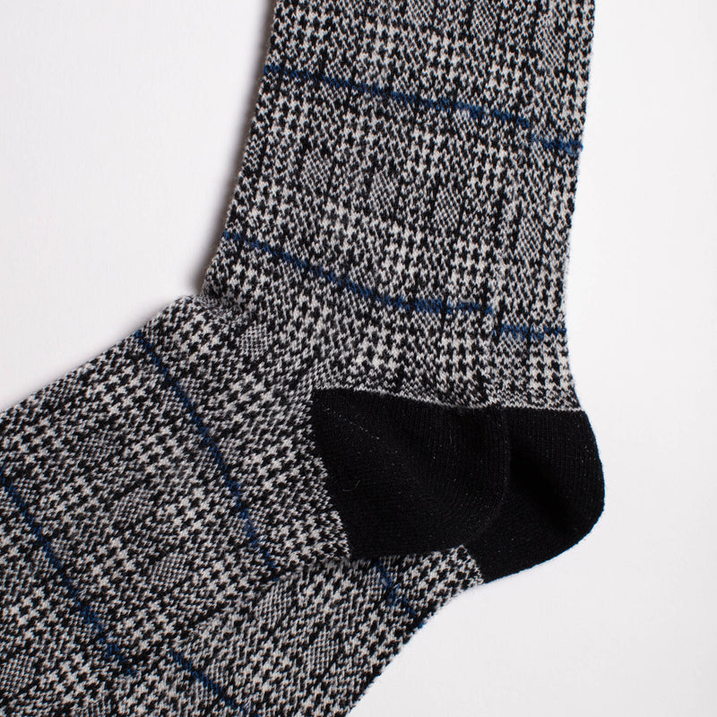 Anonymous Ism - Wool Glen Check Crew Socks - Black