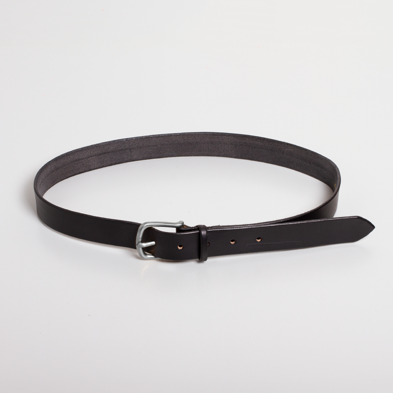 Standard Leather Belt - Black/Silver