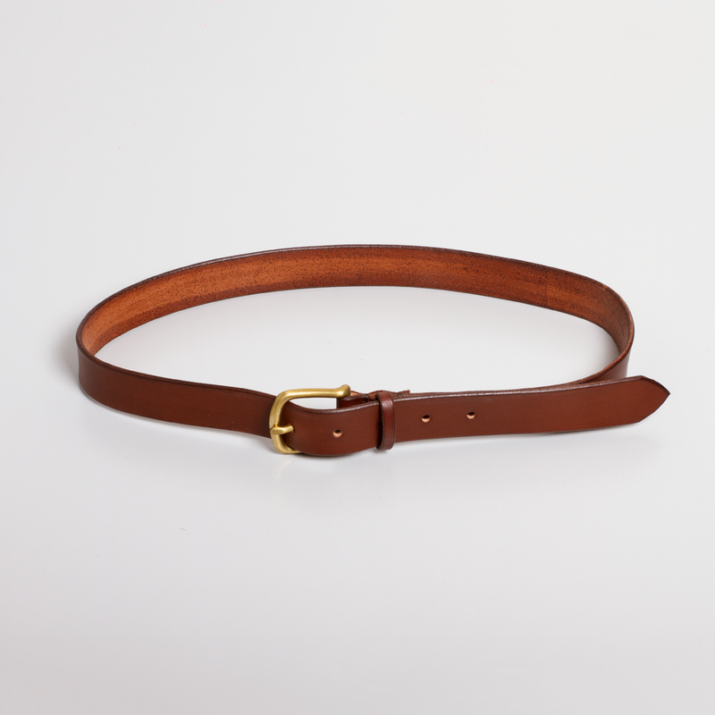 Standard Leather Belt - Dark Brown/Brass
