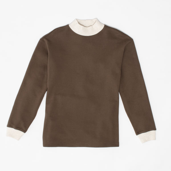 Mock Neck Sweatshirt - Olive Ringer