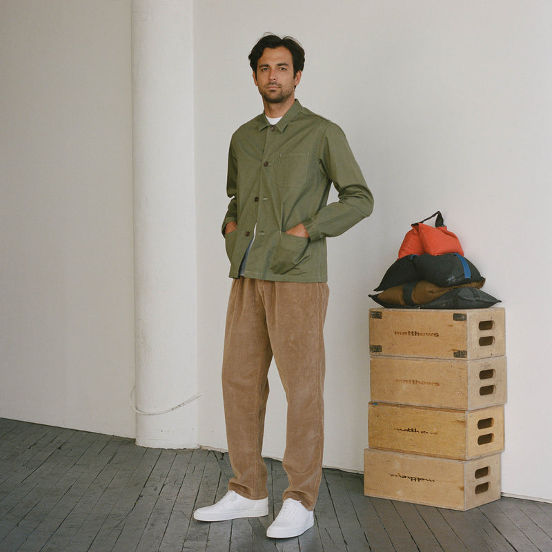 Unis New York - Roger Double Pleat Trouser - Khaki Wide Wale Corduroy
