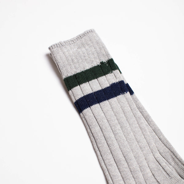 Two Line Crew Socks - Grey