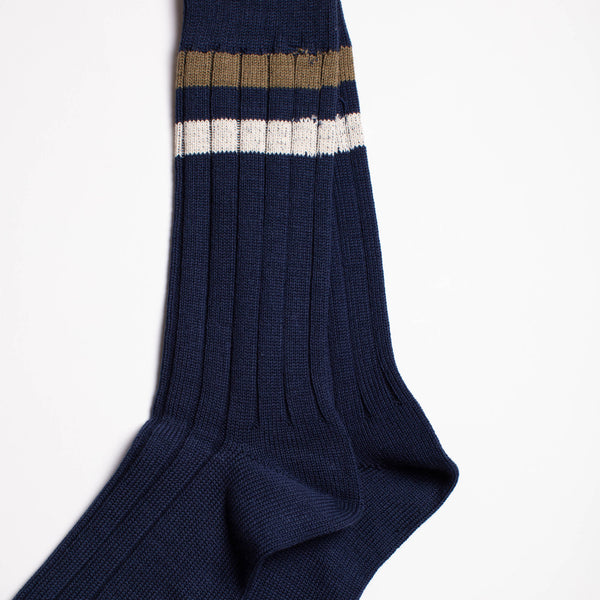 Two Line Crew Socks - Navy