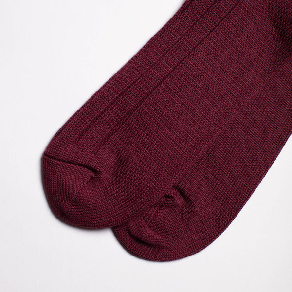 Two Line Crew Socks - Wine