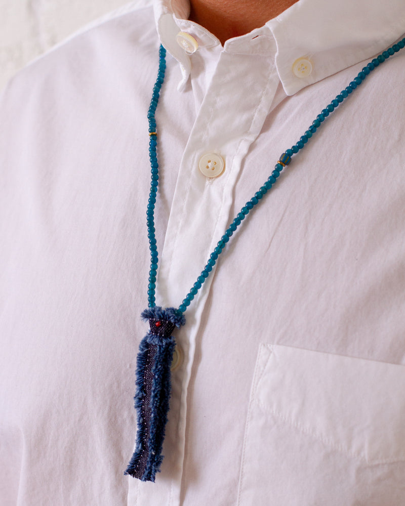 Mikia - Beads x Denim Necklace - Apatite