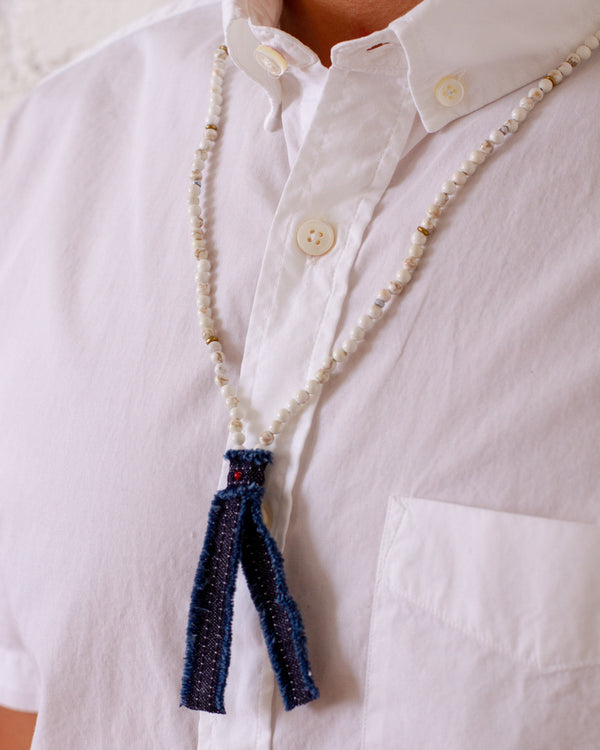 Beads x Denim Necklace - Magnesite