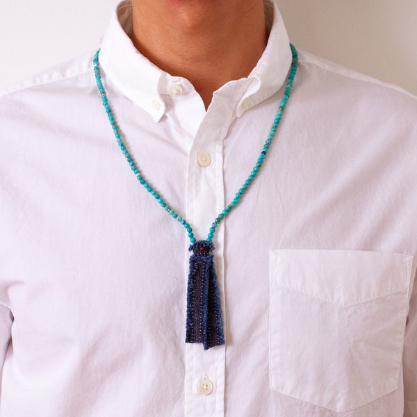 Mikia - Beads x Denim Necklace - Turquoise