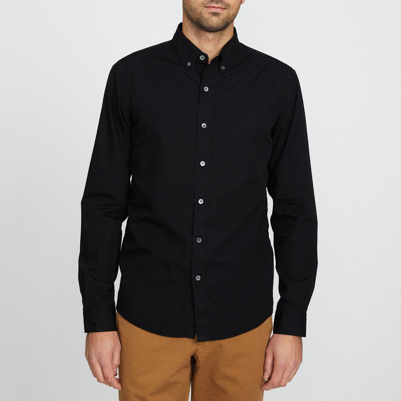 Unis Felix Poplin Button Up Long Sleeve Shirt in Black