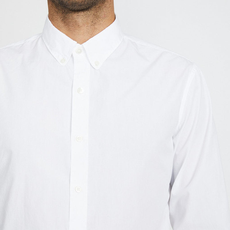 Unis Felix Poplin Button Up Long Sleeve Shirt in White