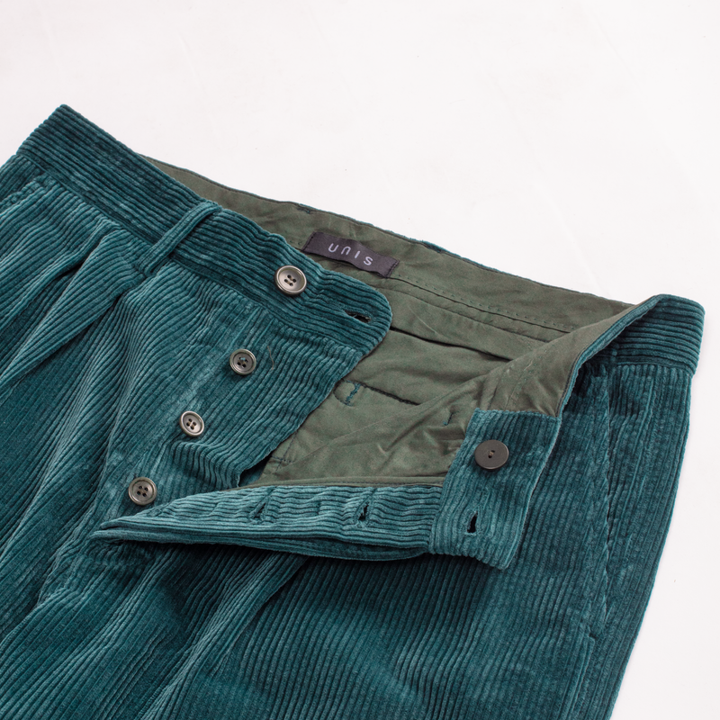 Unis New York - Roger Double Pleat Trouser - Bottle Green Wide Wale Corduroy