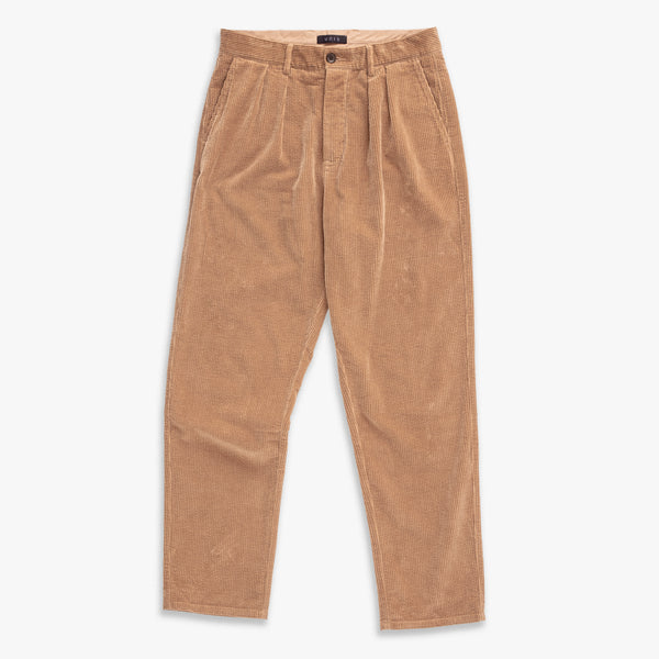 Unis New York - Roger Double Pleat Trouser - Khaki Wide Wale Corduroyx