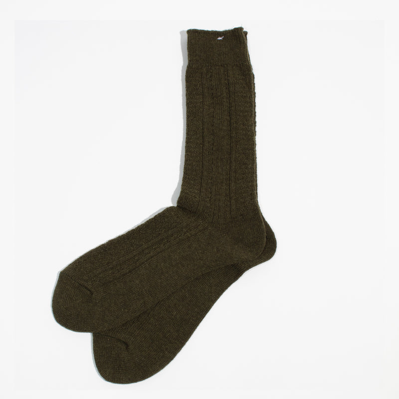 Wool Cashmere Links Crew - Olive