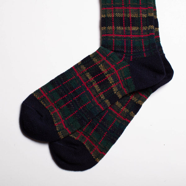 Wool Check Crew Socks - Navy