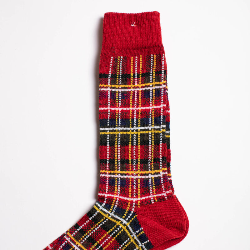 Anonymous Ism - Wool Check Crew Socks - Red
