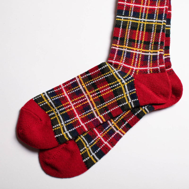 Wool Check Crew Socks - Red