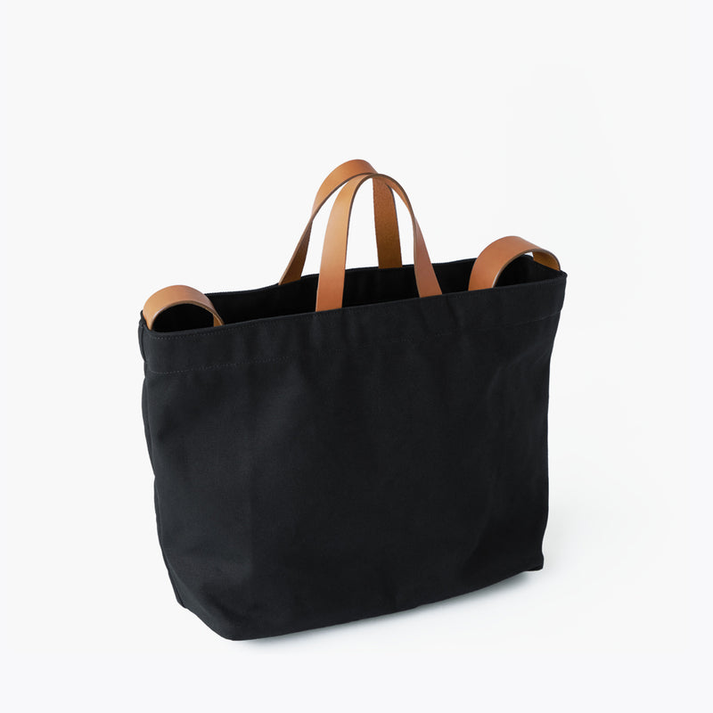 Makr Sling Tote black canvas natural leather