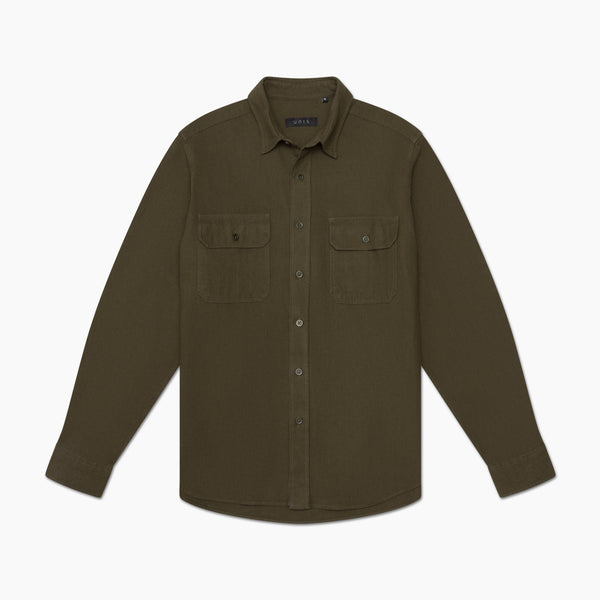 unis toby yarn dyed twill shirt olive