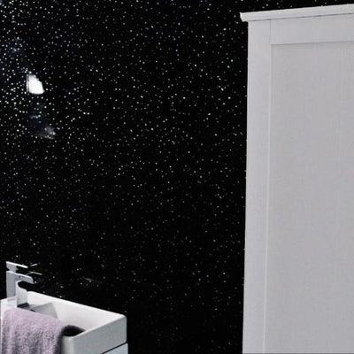 Sample of Black Sparkle Glitter Large 10mm Thick Bathroom Shower Panel 1m x 2.4m