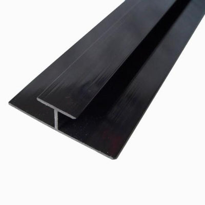 H Trim, or Joining Trim in Black Finish For 10mm Cladding Wall and Ceiling Panels 2.4m Long