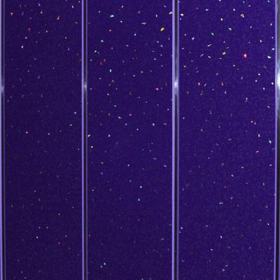 Sample of Purple Sparkle and Twin Chrome 5mm Cladding Bathroom Wall Panels
