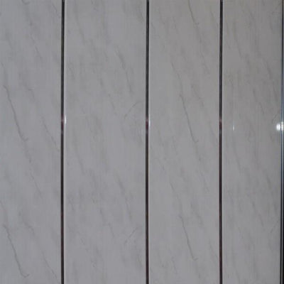 Light Grey and Chrome Bathroom Wall Panels PVC 5mm Thick Cladding 2.6m x 250mm