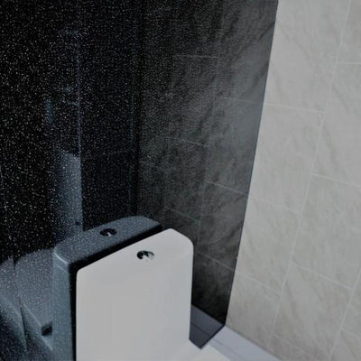 Sample of Black Dew 8mm Thick PVC Bathroom Wall Panels