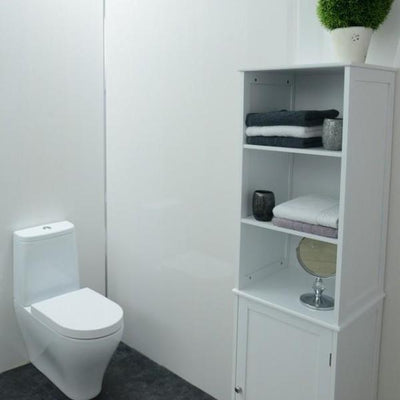 Gloss White Bathroom Wall Panels PVC 8mm Thick Cladding 2.6m x 250mm