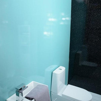 Sample of Lagoon Blue Shimmer 10mm Thick Large PVC Shower Panel