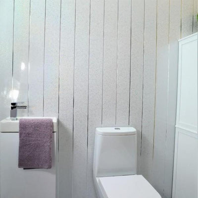 Sample of Platinum White Sparkle & Twin Chrome Strip 5mm Cladding Bathroom Wall Panels