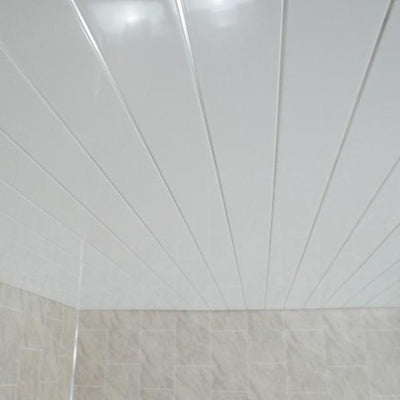 Sample of Gloss White & Twin Chrome Strip 5mm Cladding Bathroom Wall Panels