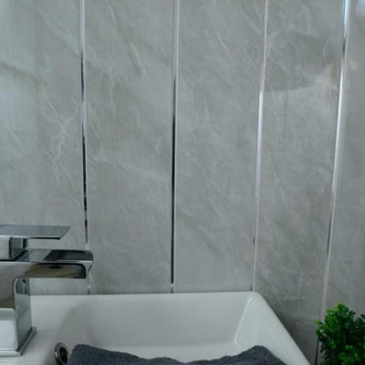 Dark Grey Stone Marble & Twin Chrome Strip Bathroom Wall Panels PVC 5mm Thick Cladding 2.6m x 250mm