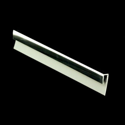 Sample of End Cap Trim Chrome Finish, or J Trim, or Universal Trim, for Cladding Wall Panels.