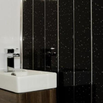 Black Sparkle with Twin Chrome Strip Bathroom Wall Panels PVC 5mm Thick Cladding 2.6m x 250mm