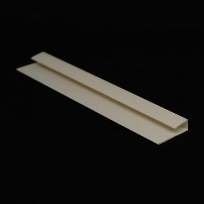 Sample of End Cap Trim White Finish, or J Trim, or Universal Trim, for Cladding Wall Panels.