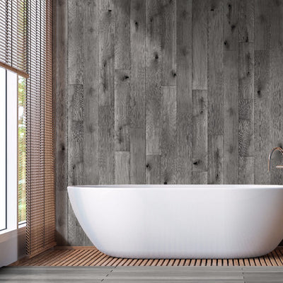 Sample of Distressed Grey Oak Wood Bathroom Wall Panels PVC 8mm Thick Cladding 2.6m x 0.25m
