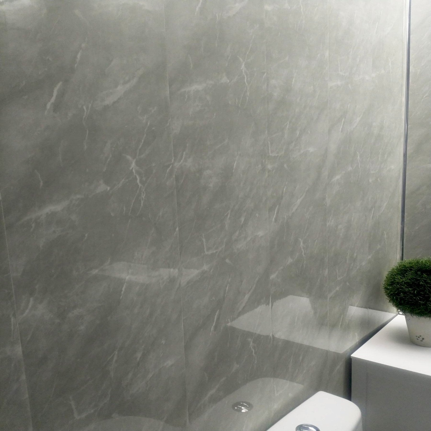 Grey Marble Bathroom Wall Panels Pvc 8mm Thick Cladding 2 6m X 250mm Claddtech