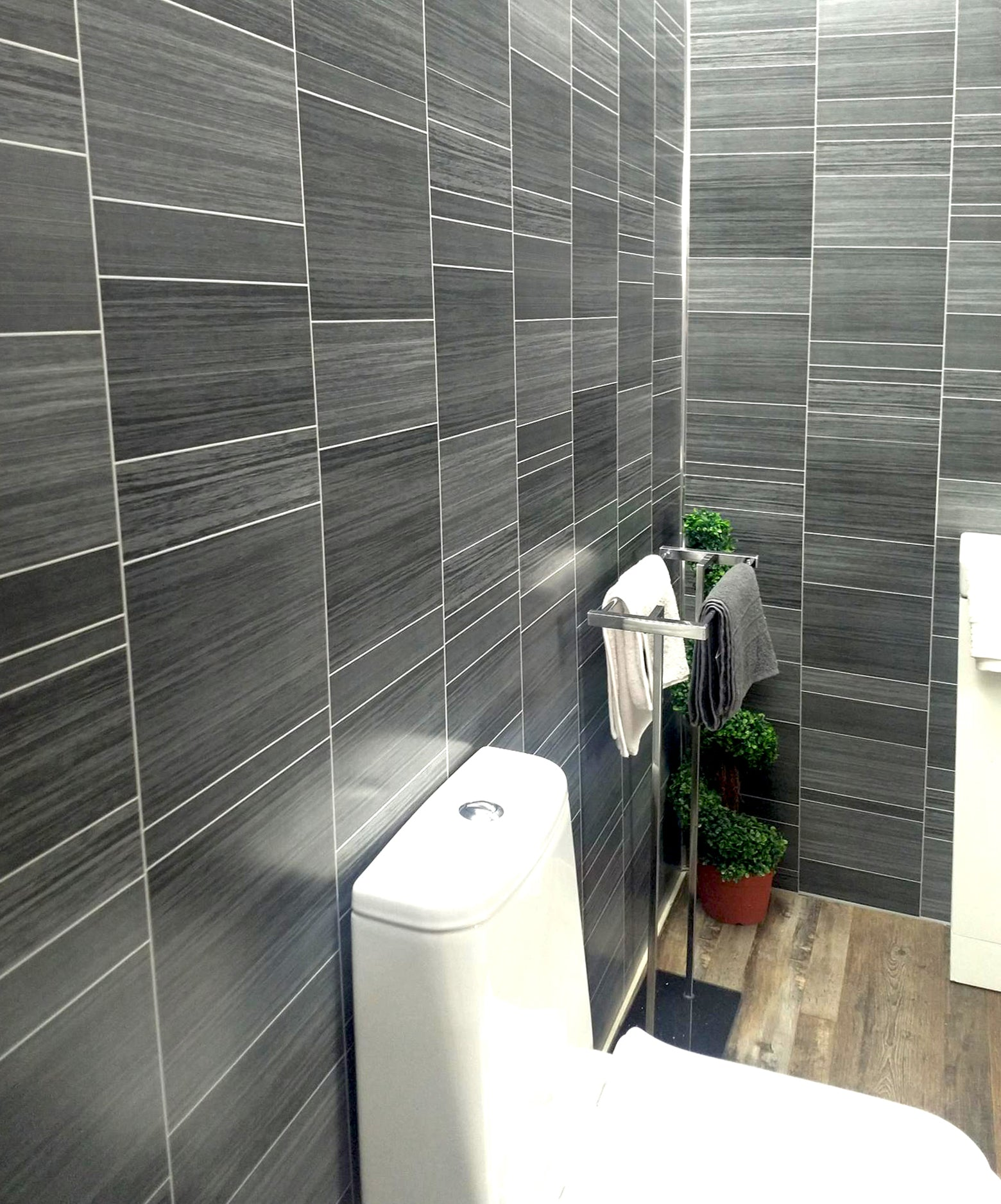 PVC bathroom panels Easy-Fit  complete kit Grey Marble 2 side with trims,glue