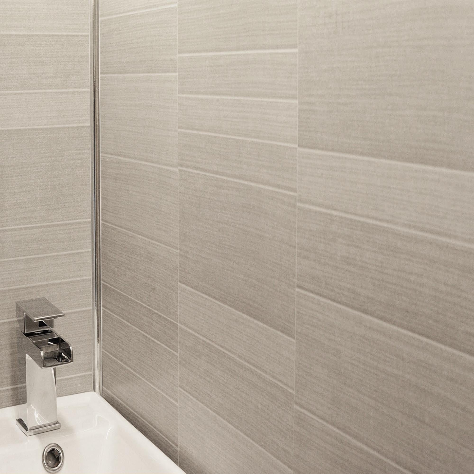 Light Grey Small Tile Effect Bathroom Wall Panels PVC 5mm ...