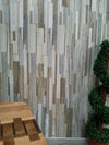 Sample of Marino Natural Wood Bathroom Wall Panels PVC 8mm Thick Cladding 2.6m x 0.25m