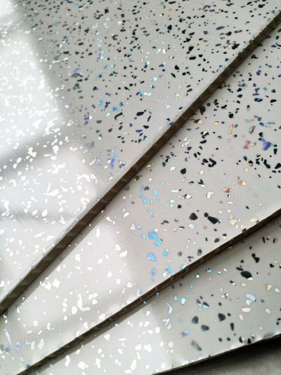 Platinum White Sparkle 5mm Wall Cladding For Bathrooms 2.6m x 0.25m