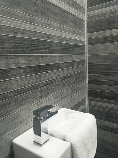 Sample of Grey Multitile Effect 10mm Thick Large PVC Shower Boards 1m x 2.4m