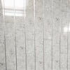 White Alabaster Marble & Chrome Bathroom Wall Panels PVC 5mm Thick Cladding 2.6m x 250mm - Claddtech