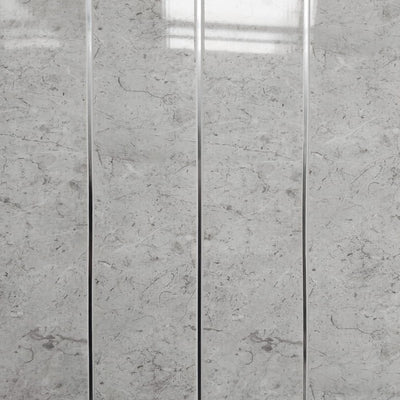 White Alabaster Marble & Chrome Bathroom Wall Panels PVC 5mm Thick Cladding 2.6m x 250mm