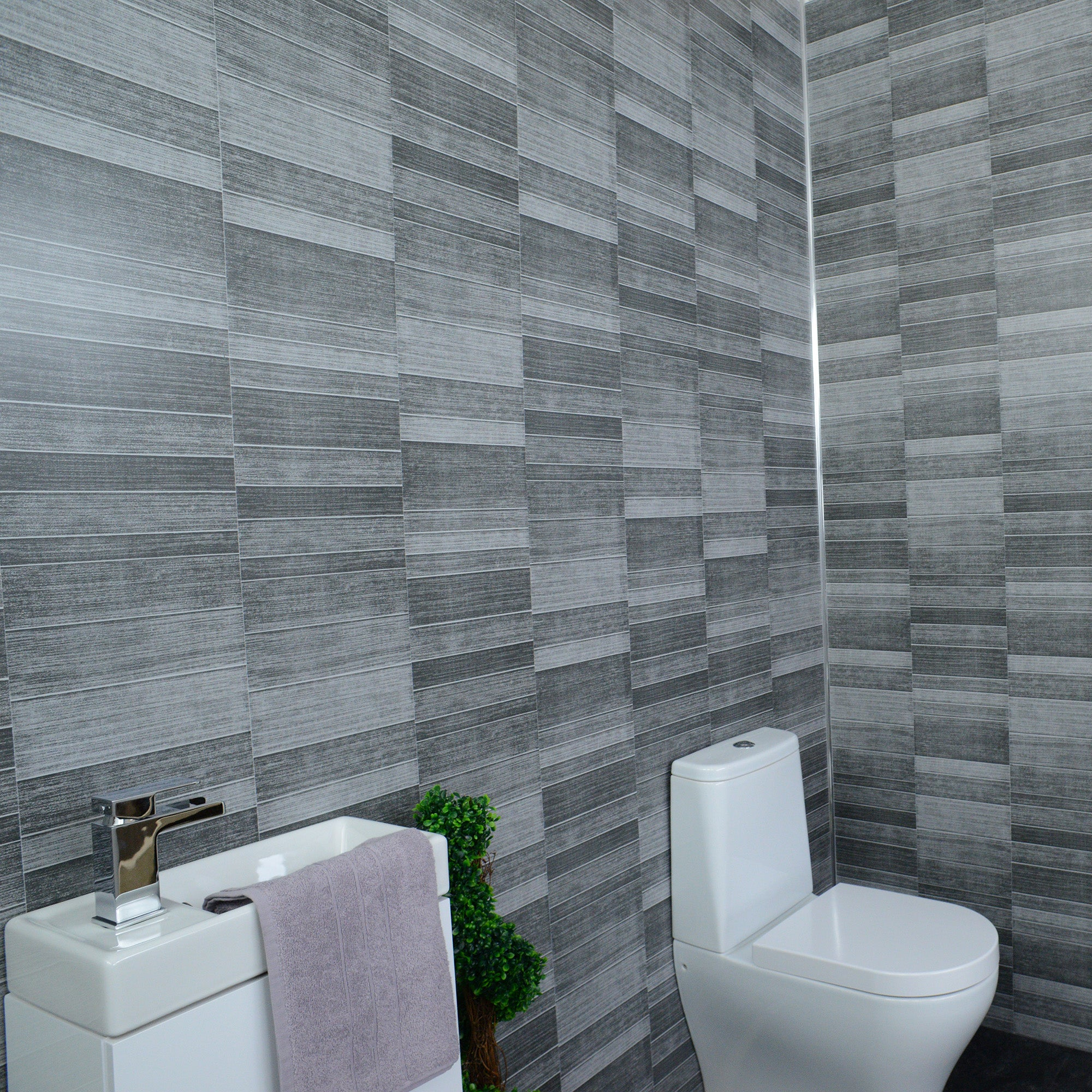Grey Small Tile Effect 8mm Wall Panels For Bathrooms ...