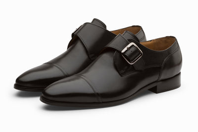 William Leather Monkstrap Shoes - Black