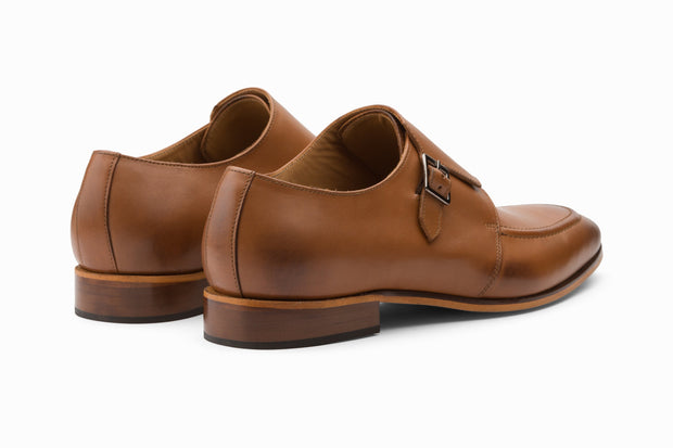 Single Monkstrap Leather Shoes - Tan