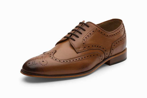 Wingtip Brogue Derby- Tan
