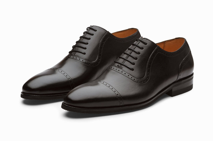 Semi Brogue Oxford Leather Shoes - Black